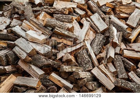 logs of wood on mounds prepared for heating