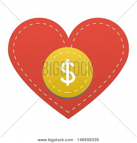 Vector donate concept hand and money button in flat style. Donation gift charity, isolated web donate button design sign contribute. Money giving symbol donate button sign