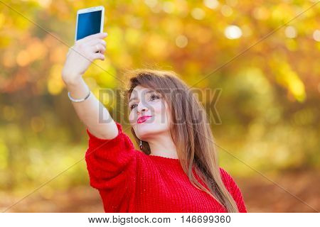 Lovely Girl With Smartphone Taking Selfie Photo.