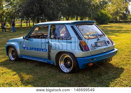Mogliano VenetoItaly Sept 112016:Photo of Renault 5 Maxi Turbo at meeting Top Selection 2016. Is a high-performance hatchback.The car was primarily designed for rallying but was also sold in a street version.