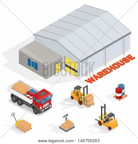 Big warehouse with office. Near forklifts, pallet truck, scales and barrels - isometric vector illustration