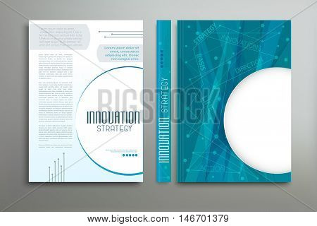 Vector blue template: cover, flyer, brochure, book, report business