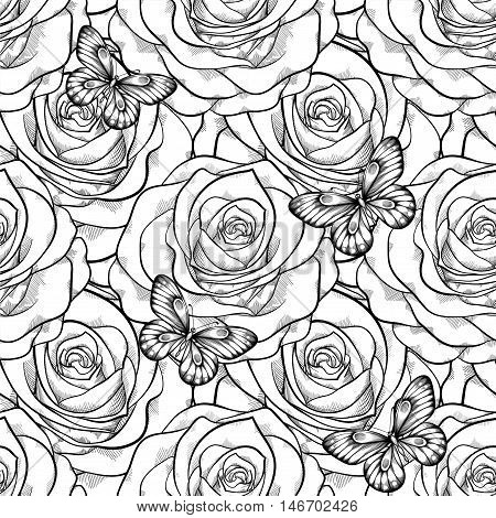beautiful black and white seamless pattern in roses with contours. Hand-drawn contour lines and strokes. Perfect for background greeting cards and invitations of the wedding birthday Valentine's Day
