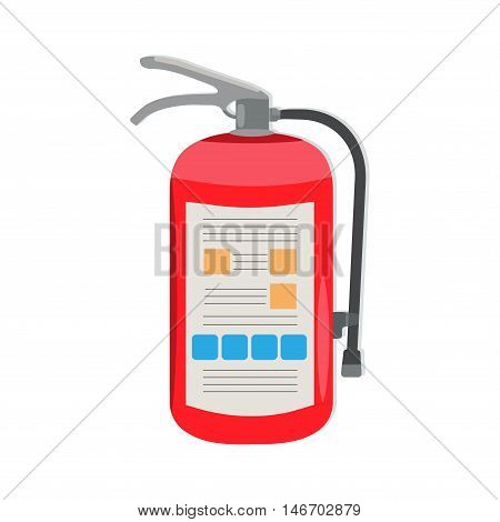 Fire extinguisher with manual and tube. Vector illustration.