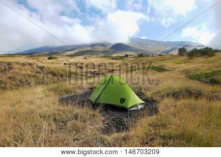 green tent on Etna National Park, Sicily