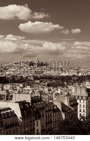 Paris rooftop view with Sacre Coeur and city skyline.