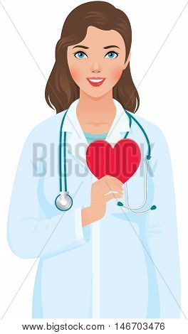 Vector illustration of a young woman cardiologist in the medical doctor uniform with a stethoscope and heart symbol in hand