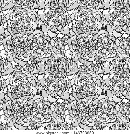 Beautiful seamless background with monochrome black and white flowers. Hand-drawn contour lines and strokes. Perfect for background greeting cards and invitations of the wedding birthday