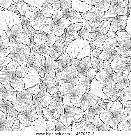 Beautiful seamless background with monochrome black and white flowers. Hand-drawn contour lines and strokes. Perfect for background greeting cards and invitations to the day of the wedding birthday