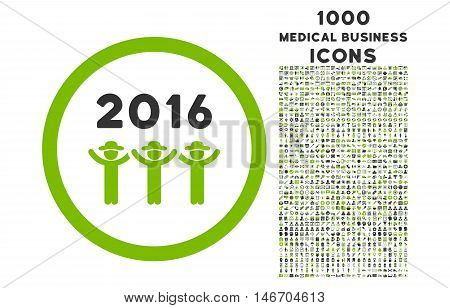 2016 Guys Dance rounded vector bicolor icon with 1000 medical business icons. Set style is flat pictograms, eco green and gray colors, white background.
