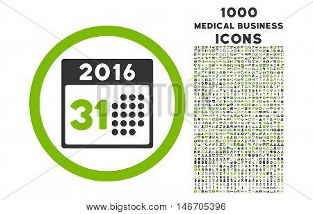 Last 2016 Month Day rounded vector bicolor icon with 1000 medical business icons. Set style is flat pictograms, eco green and gray colors, white background.
