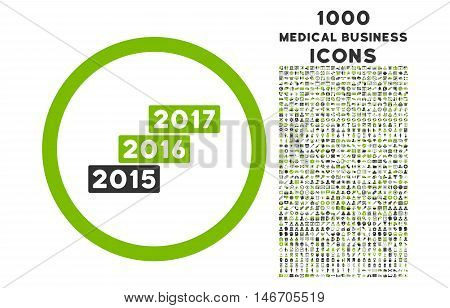 Years Stairs rounded vector bicolor icon with 1000 medical business icons. Set style is flat pictograms, eco green and gray colors, white background.