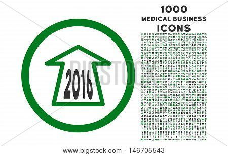 2016 Ahead Arrow rounded vector bicolor icon with 1000 medical business icons. Set style is flat pictograms, green and gray colors, white background.