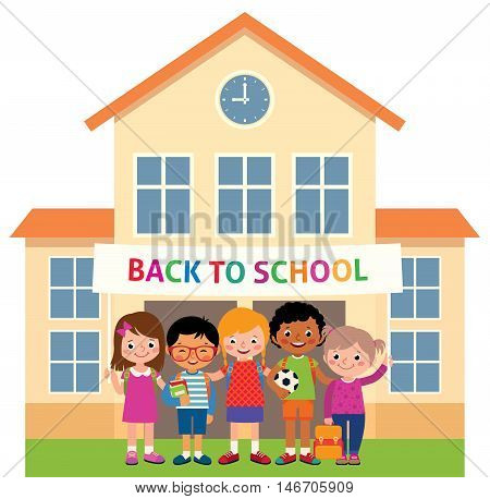 Children stand in an educational institution building and hold a banner with the inscription back to school Stock vector illustration