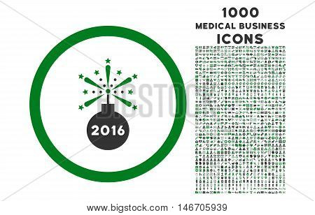 2016 Fireworks Detonator rounded vector bicolor icon with 1000 medical business icons. Set style is flat pictograms, green and gray colors, white background.