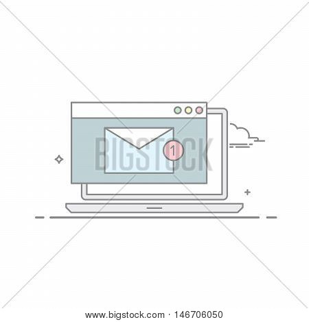 The e-mail on a laptop or nitebook in a linear style . A new message. Unread letter . Email marketing. Vector illustration isolated on white background