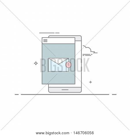 The e-mail on mobile phone or tablet in a linear style . A new message. Unread letter . Email marketing. Vector illustration isolated on white background