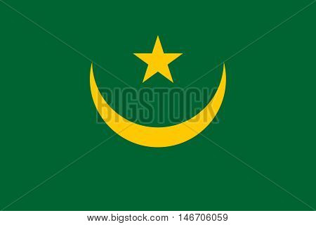 Flag of Mauritania in correct size proportions and colors. Accurate official standard dimensions. Mauritanian national flag. African patriotic symbol banner element background. Vector illustration