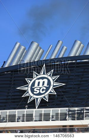 Velsen The Netherlands - September 10th 2016: MSC Splendida a cruise ship owned and operated by MSC Cruises company logo