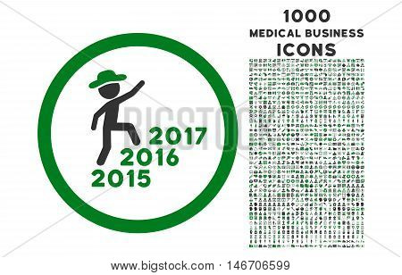 Gentleman Steps Years rounded vector bicolor icon with 1000 medical business icons. Set style is flat pictograms, green and gray colors, white background.