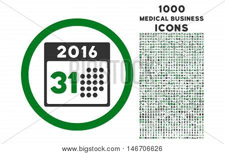 Last 2016 Month Day rounded vector bicolor icon with 1000 medical business icons. Set style is flat pictograms, green and gray colors, white background.