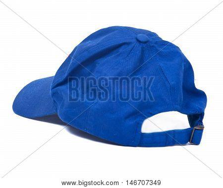 Blue baseball cap hat on white background