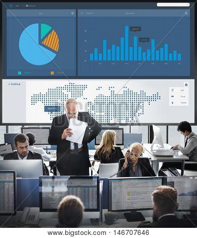 World Economy Chart Money Data Concept