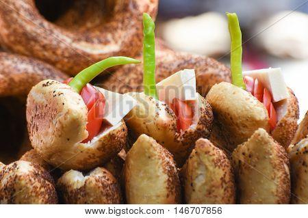 Sandwich (Turkish name is Kumru) and Turkish Traditional Bakery Bagel, Turkish donut, called as Simit in Turkish