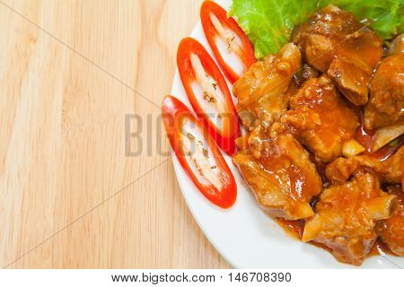 Broiled pork ribs with sauce Thai style for appetizer or meal time