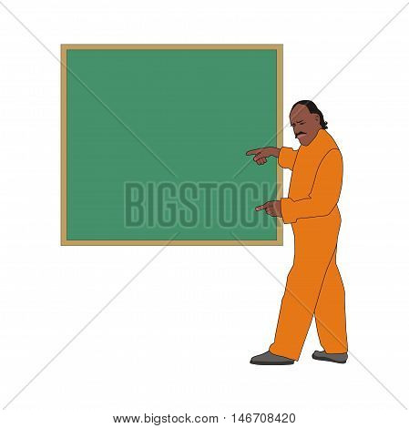 Illustration of a middle-aged schoolteacher man points to the green blackboard