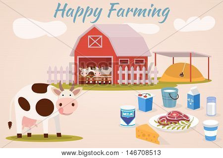 Happy farmin - Cow farm. Dairy cattle - vector flat illustrations