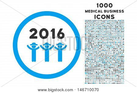 2016 Guys Dance rounded vector bicolor icon with 1000 medical business icons. Set style is flat pictograms, blue and gray colors, white background.