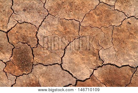 Dried and Cracked ground on drought season, Natural background.