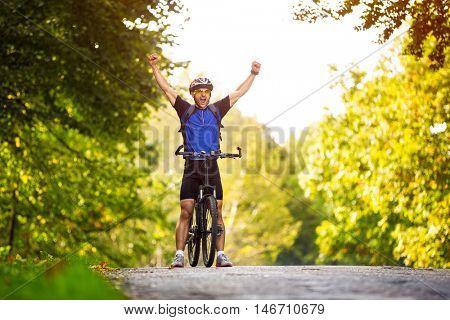 happy cyclists, he is winner