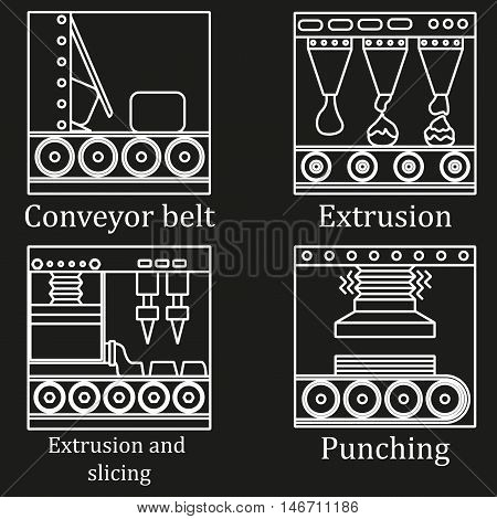 A Set Of Four Images Of Food Production Machines