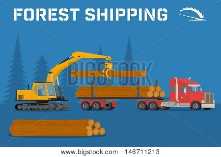 Shipping timber. Loading felled trees in the timber crane on the basis of an excavator. benner.