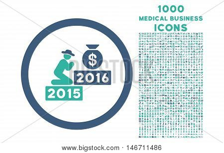 Pray for Money 2016 rounded vector bicolor icon with 1000 medical business icons. Set style is flat pictograms, cobalt and cyan colors, white background.