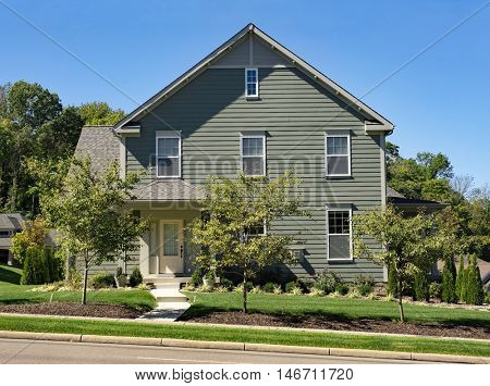 Gray House with Neutral Trim