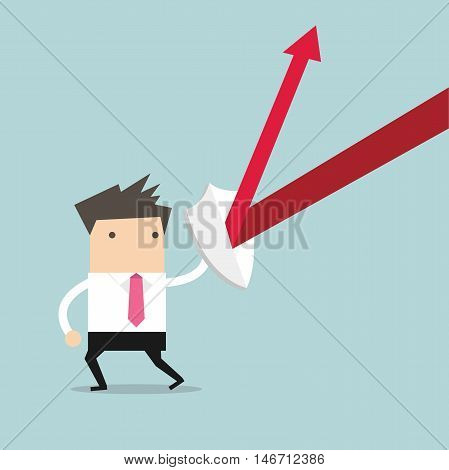 Businessman standing and hold the shield vector