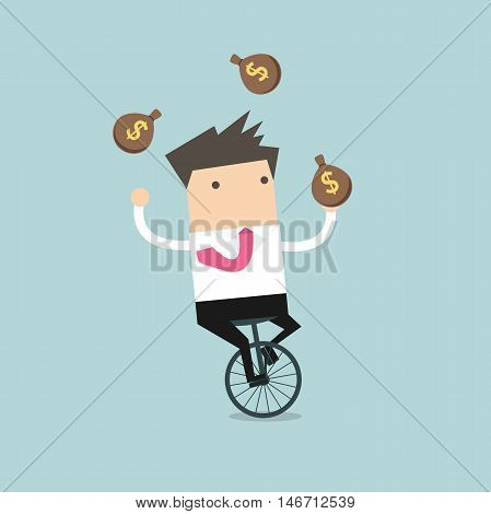 Businessman juggling money bag while cycling vector