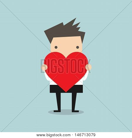 Businessman standing and hold heart shape vector illustration
