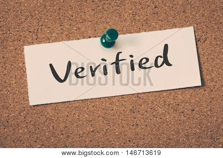 Verified note pin on the bulletin board