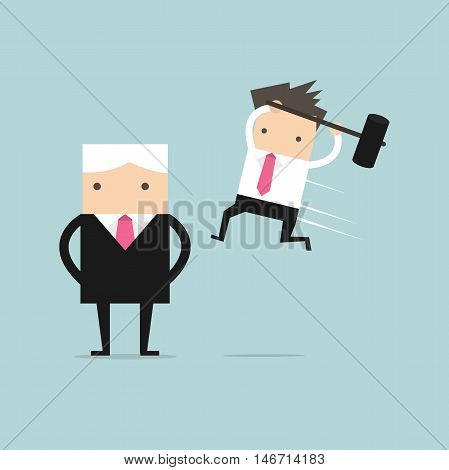 Businessman jump smash boss from the back