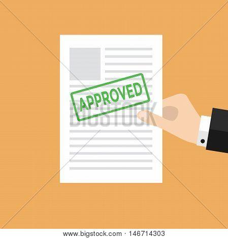 Businessman Hand holds approved paper vector illustration