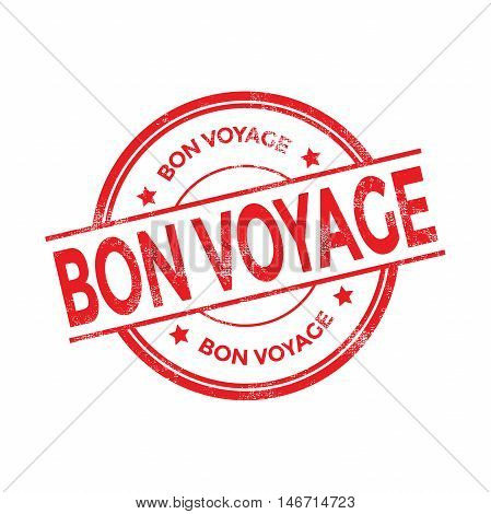 Bon voyage red rubber stamp isolated. vector illustration