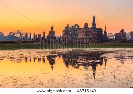 Sukhothai historical park the old town of Thailand in 800 years ago