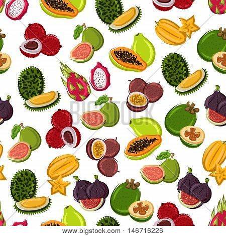 Fresh and sweet tropical fruits seamless background with pattern of exotic durian, star fruit, papaya, dragon fruit, fig, feijoa, guava, passion fruit and lychee fruits
