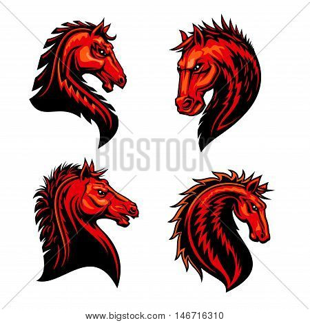 Fire horse mascots with head of wild mustang stallion, bronco or purebred racehorse, decorated by tribal ornament in shape of fire flames. Horse racing symbol, sporting club or team badge design