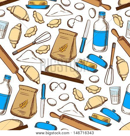 Seamless pattern of home baking croissants and ravioli with dough, flour, milk, egg, butter, knife, rolling pin and whisk on white background