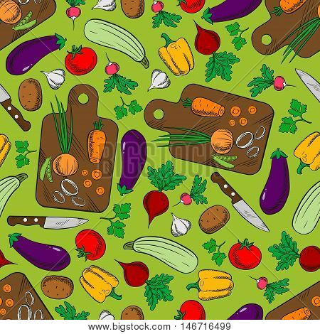 Fresh vegetable salad ingredients background with seamless pattern of tomato, pepper, carrot, eggplant, potato, zucchini, beet, garlic, radish, onion and parsley with knife and cutting board